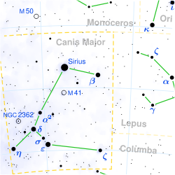 Canis Major featuring Sirius, The Dog Star